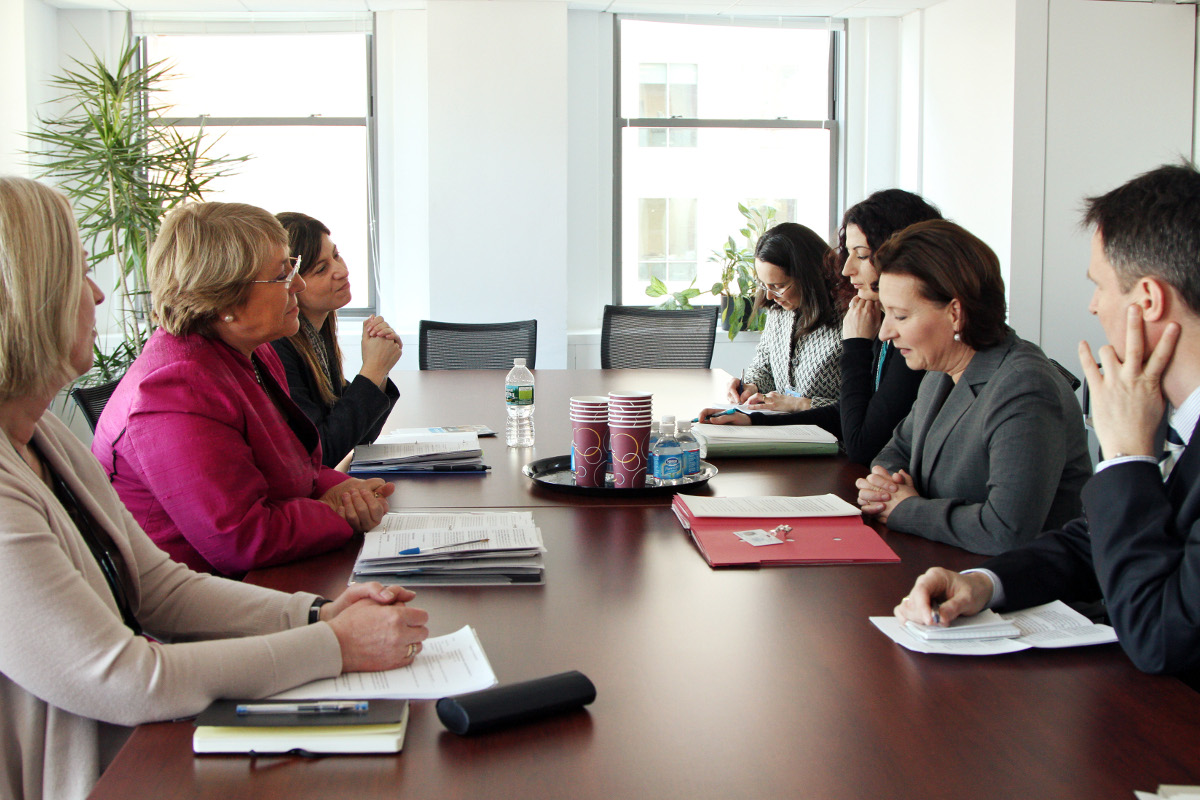 UN Women Executive Director Michelle Bachelet meets with Gabriele Heinisch-Hosek, Austrian Federal Minister for Women and Civil Service during the 56th Session of the Commission on the Status of Women.